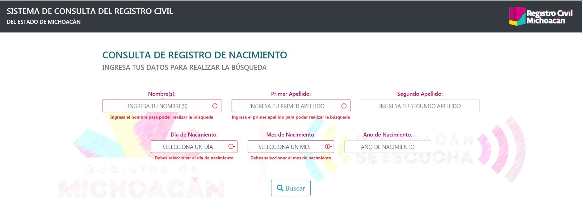 Consulta curp Registro Civil Michoacan